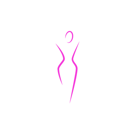 Silhouette of a slender woman body logo, abstract health feminine slim figure of a young girl pink lines art, mockup of a female emblem for a spa or diet