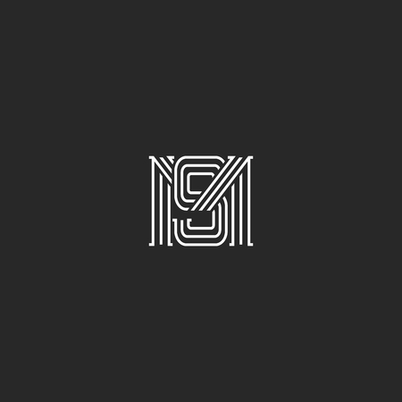 Monogram MS letters logo overlapping lines simple hipster typography design element, combination M and S initials wedding invitation emblem