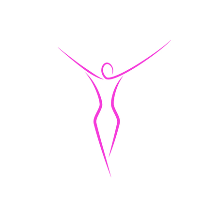 Ilustración de Silhouette of a slender girl logo, slim figure of a young attractive woman fitness model in a linear art style, a emblem template for a spa salon or fashion show - Imagen libre de derechos