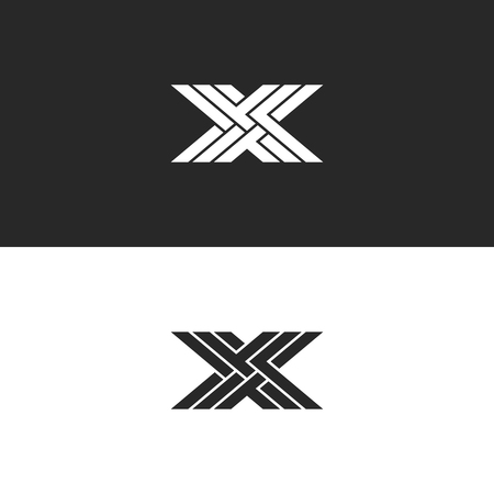 Illustration pour Logo X capital letter monogram, identity initial linear emblem for business card, black and white overlapping lines weaving pattern - image libre de droit