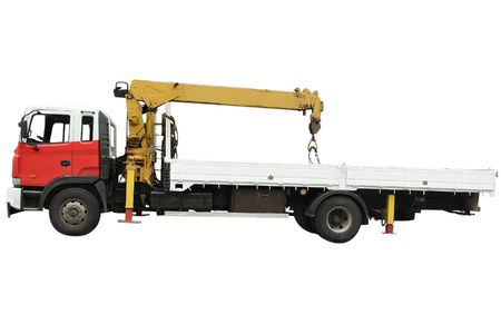 Truck with the handler under the white background