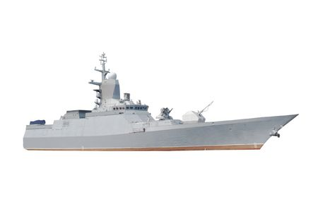 Military ship under the white background
