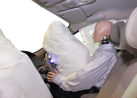 The image of mannequin in a car after crash-test