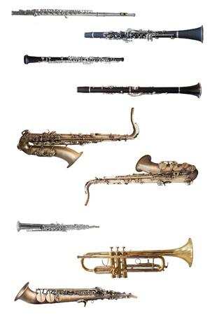 Photo pour wind instruments under the white background - image libre de droit