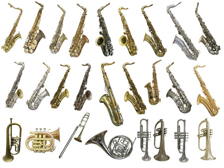 Photo pour The image of different kinds of wind instruments - image libre de droit