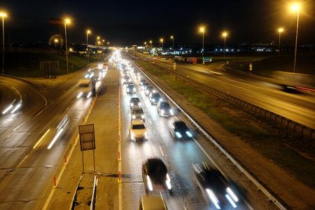 Night traffic jam on a highway