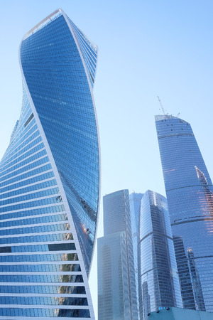 Photo for Bottom view of modern skyscrapers in business district - Royalty Free Image