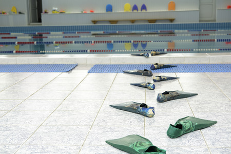 flippers go to the water in a swimming pool