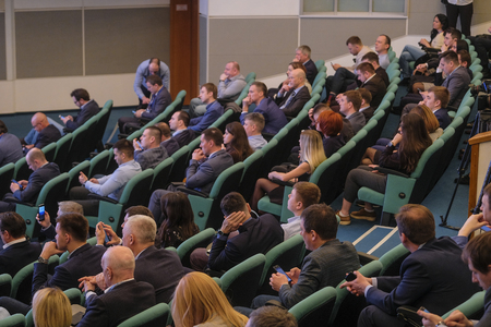 Photo pour Moscow, Russia - April, 12, 2019: conference of Russian Car Dillers Association in Moscow, Russia - image libre de droit