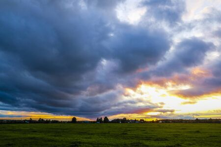 Photo pour Landscape with the image of country side at sunset - image libre de droit