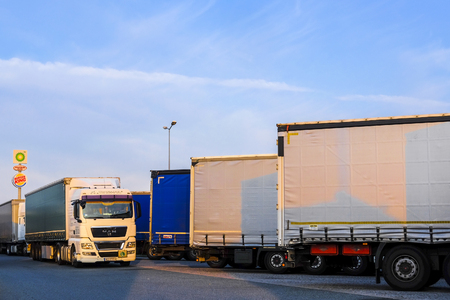 Photo for Warsaw region, Poland - August, 1, 2019: trucks on a parking in Poland - Royalty Free Image