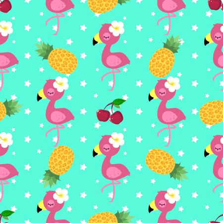 Illustration pour Tropical pattern with pink flamingo, pineapple and cherry - image libre de droit