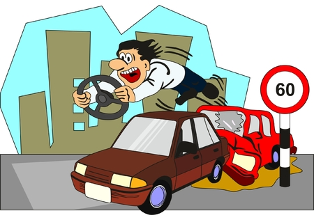 Illustration pour Car Accident Conceptual Drawing showing two vehicles involved and the driver of backside car thrown out from the front glass with the steering on his hand as he crossed speed limit and no seat belt no safe distance - image libre de droit