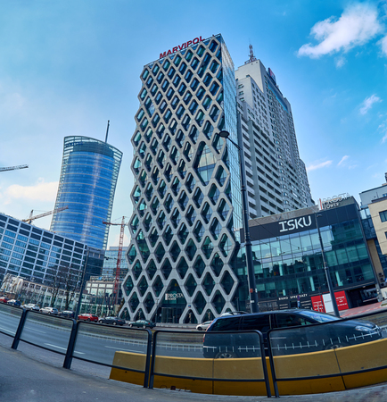 Warsaw, Poland - March 05, 2017: Prosta Tower office building is a neomodern office building, combines elegance and functionality, in the most prestigious office location in Warsaw.