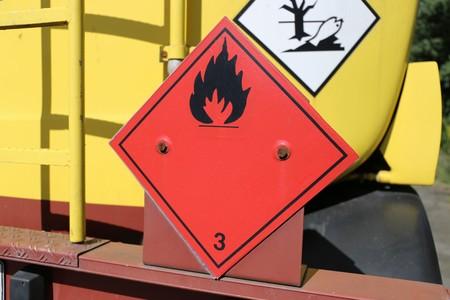 Hazardous goods plate on a truck