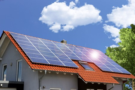 Photo for Roof with solar panels - Royalty Free Image