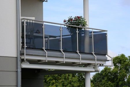 Photo for Balcony railing with glass and stainless steel - Royalty Free Image