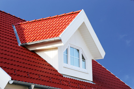 Photo for Red tiled roof with dormer - Royalty Free Image