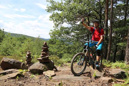 Mountain biker enjoying the view