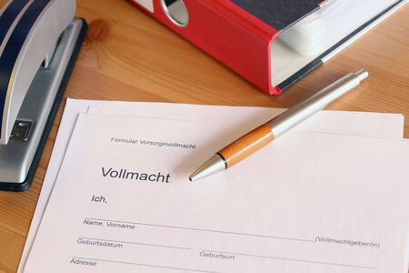 Photo for Form with german text: Form living will, then, in large letters Power of attorney and then personal data: name, date of birth, place of birth, address, phone) - Royalty Free Image