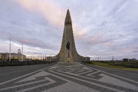 Hallgrimskirkja cathedral in reykjavik at sunset, Iceland.