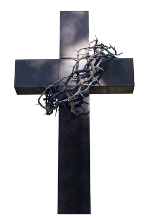 cross and thorns isolated