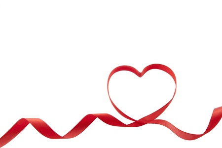 ribbon two red hearts isolated