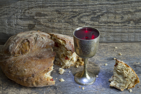 Photo for Bread and wine holy communion sign symbol - Royalty Free Image
