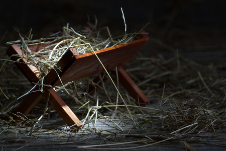 Photo for Manger in the stable abstract christmas symbol - Royalty Free Image