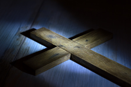 Photo for Old retro wooden cross in night abstract easter concept - Royalty Free Image