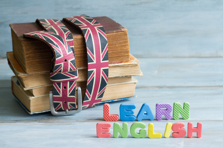 Learn Angielski education concept with books and letters