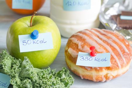 Photo pour Calorie counting and food with labels concept - image libre de droit