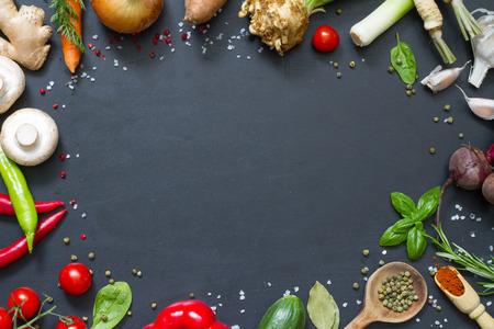 Photo pour Menu food culinary frame concept on black background - image libre de droit