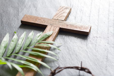 Photo for Easter wooden cross on black marble background religion abstract palm sunday concept - Royalty Free Image