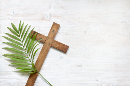 Photo for Cross and palm on wooden white background easter sign symbol concept - Royalty Free Image