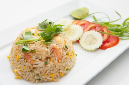 Shrimp fried rices served on white dish