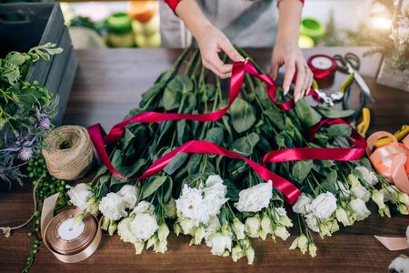 Photo for top view on young female hands tying flowers in red ribbon, preparing them for sale, wonderful beautiful white bouquet on table. florist - Royalty Free Image