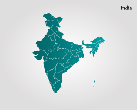 Foto per Map of India. Vector illustration. World map - Immagine Royalty Free