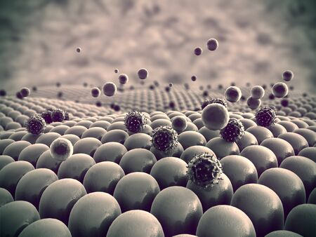 Photo pour field of cells, viruses attack the cells, action of the human immune system - image libre de droit