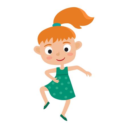 Vector cartoon illustration of little redhaired girl-dancer isol
