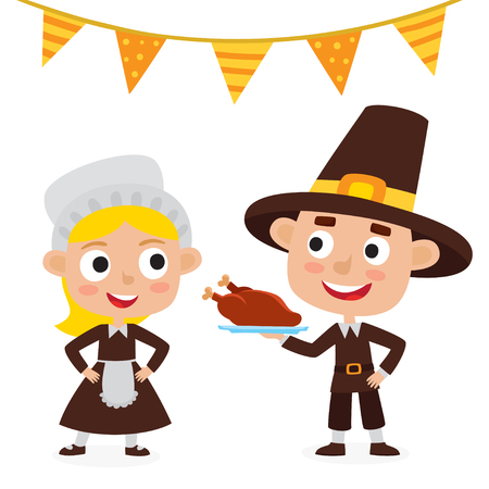 Illustration for Happy thanksgiving day. Greeting card with people characters and holiday food. - Royalty Free Image