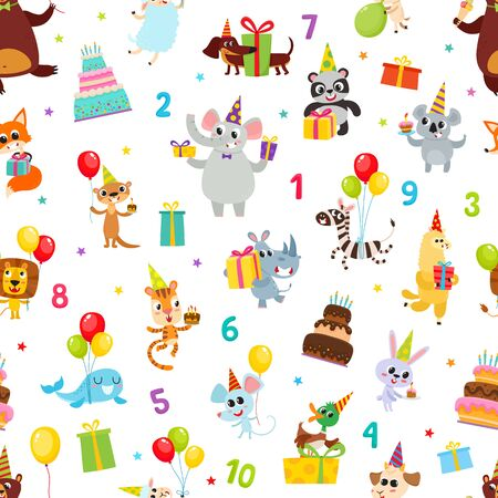 Illustration pour Birthday party cartoon seamless pattern with animals isolated on white. - image libre de droit