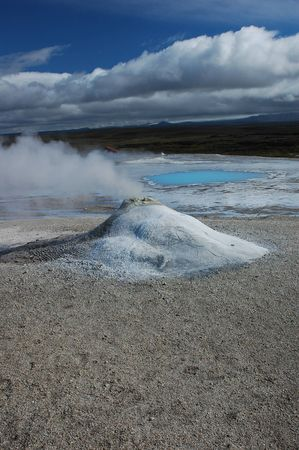 a geyser in a zone of volcanic activity in Iceland