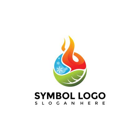 Illustration pour Element Symbol of fire, water, nature Logo Template. Vector Illustrator Eps. 10 - image libre de droit
