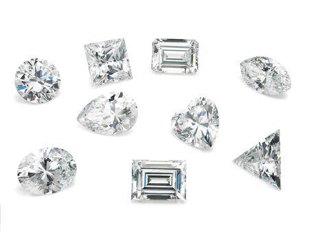 Photo pour Loose Diamond Shapes Assorted on White Background - image libre de droit