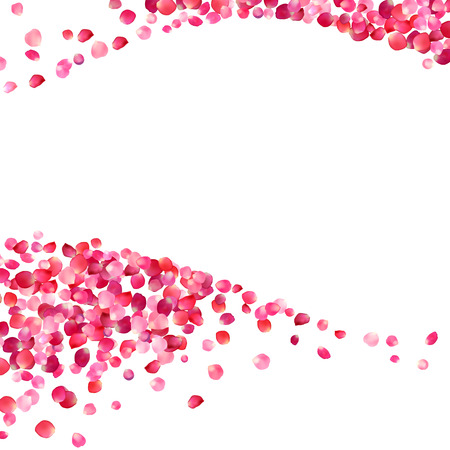 Ilustración de white background with pink rose petals waves - Imagen libre de derechos