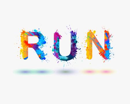 Run. Word written spray paint