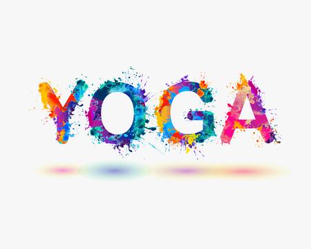 Illustration pour Word YOGA. Rainbow splash paint - image libre de droit