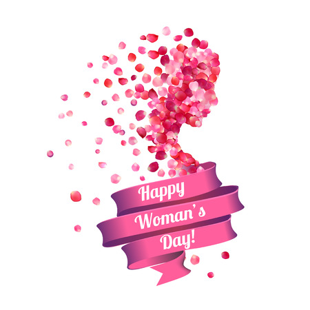 8 march. Happy Woman's Day! Silhouette of a woman of pink rose petals