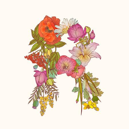 Illustration pour Vector alphabet of flowers. Floral letter R - image libre de droit